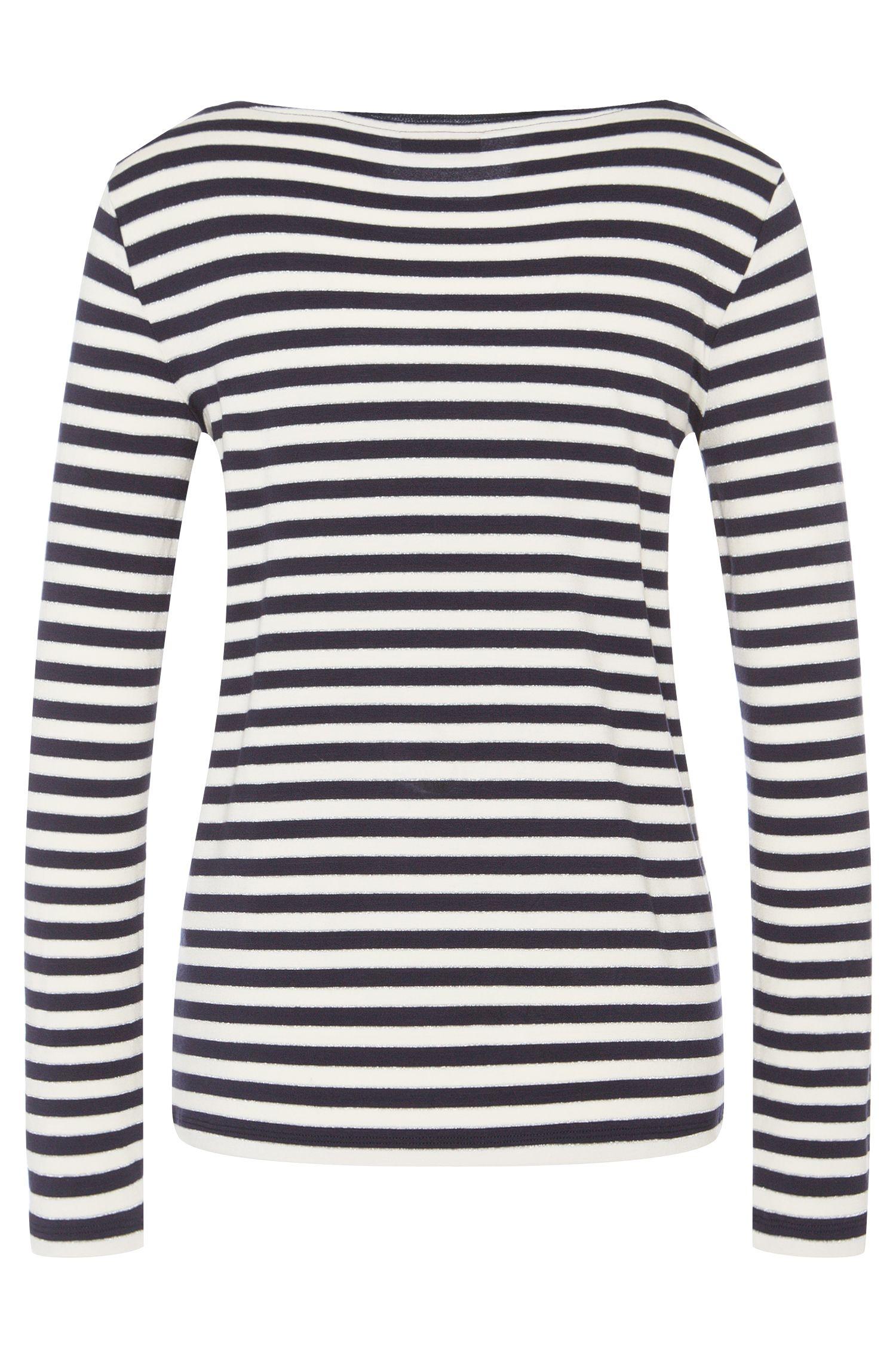 T-shirt à manches longues à rayures en viscose mélangée: «Navina»