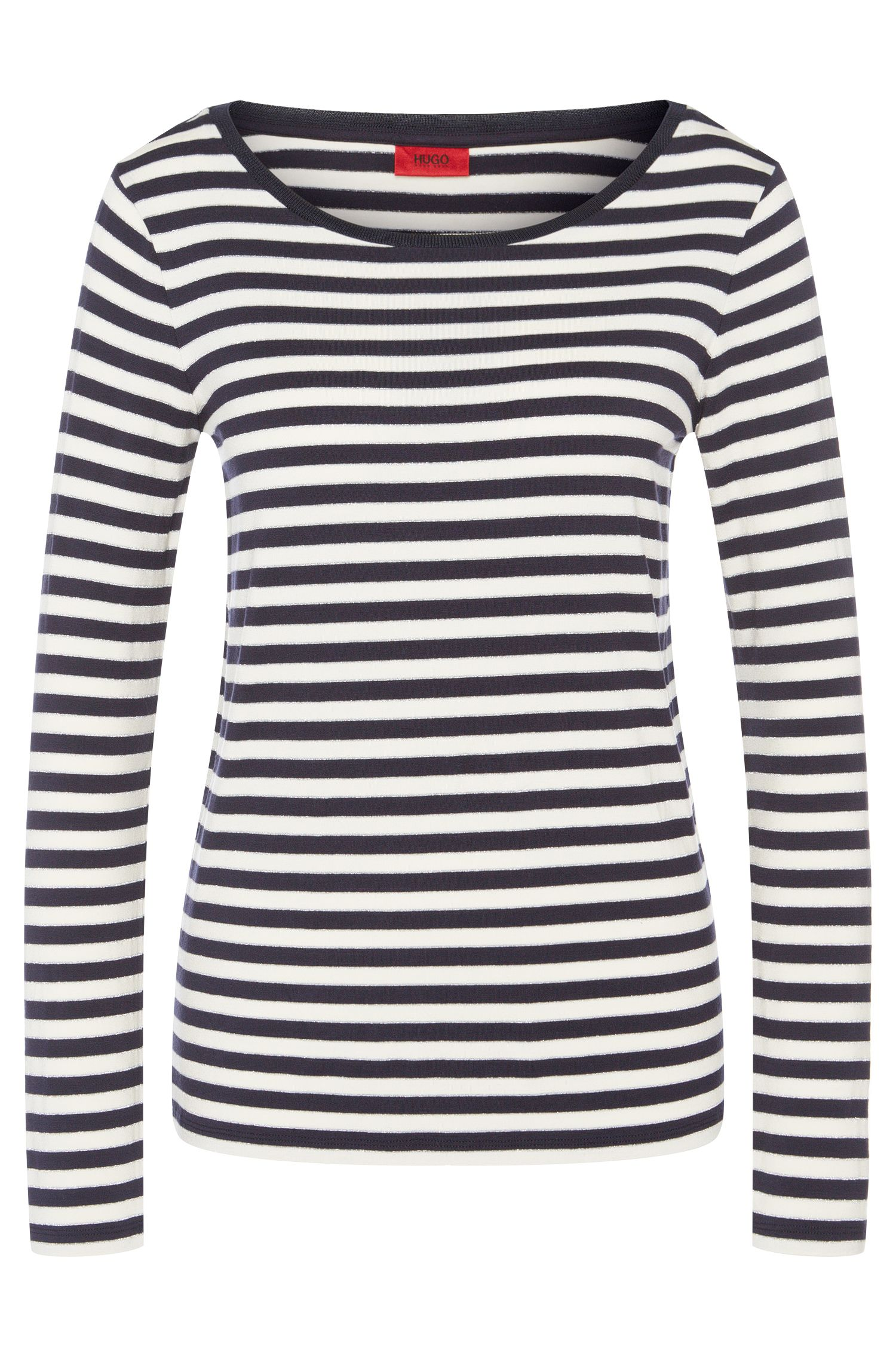 Striped long-sleeved top in viscose blend: 'Navina'