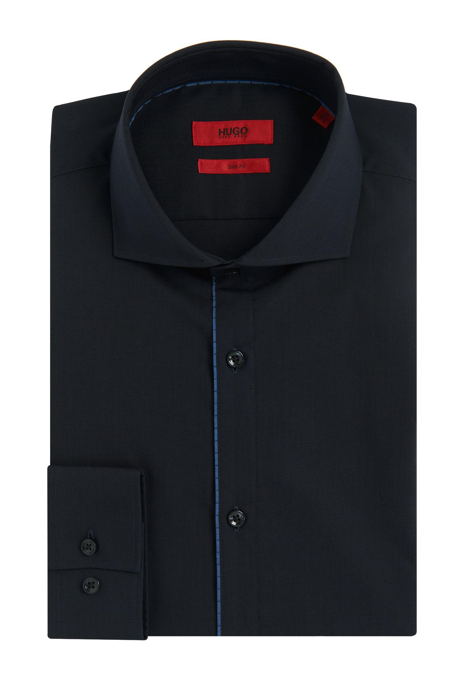 Chemise Slim Fit unie en coton ornée de passepoils en contraste: «C-Jimmy»