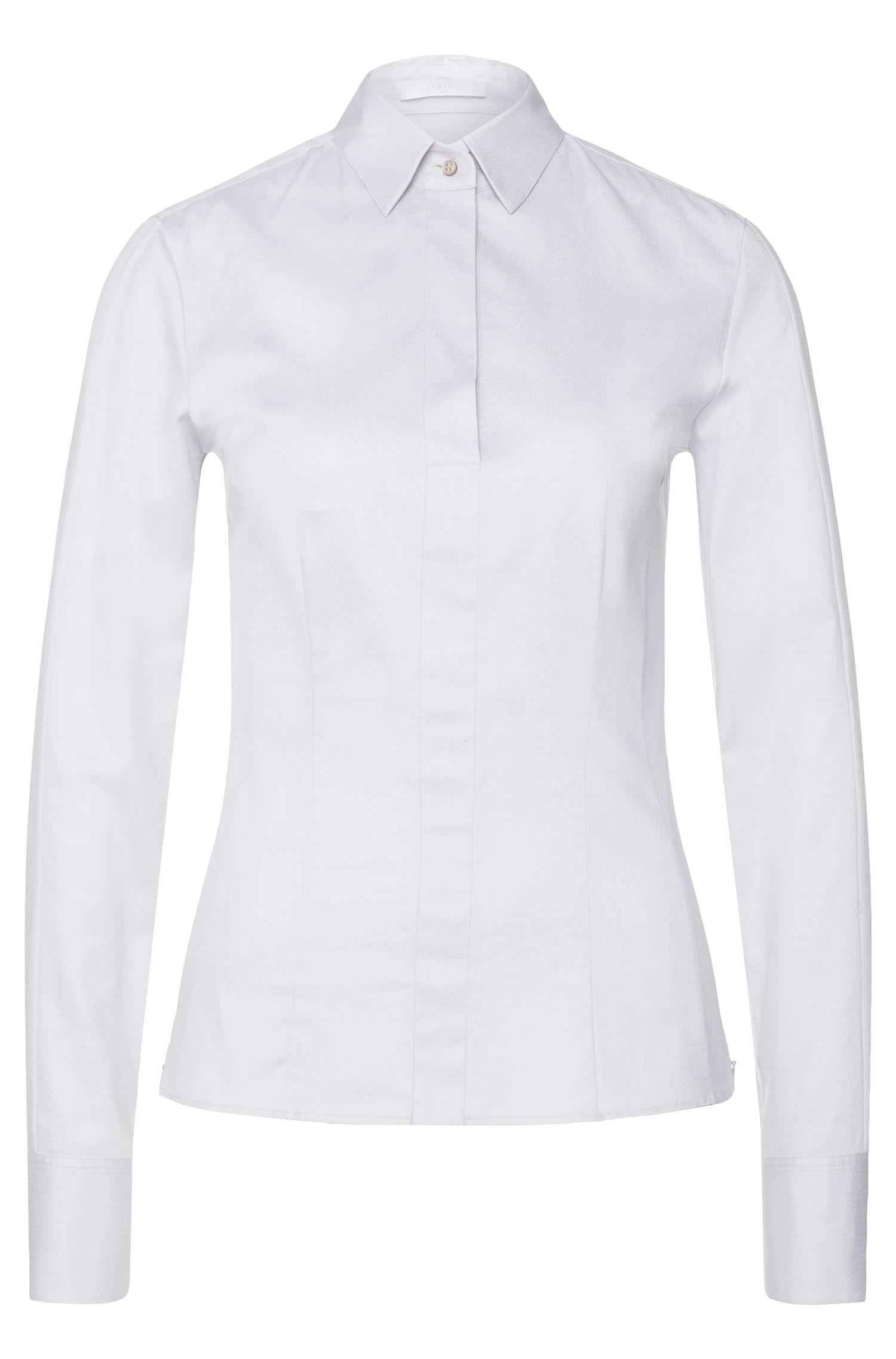 Bluse aus Stretch-Baumwolle mit seitlichen Reißverschlüssen: 'Bashina6'