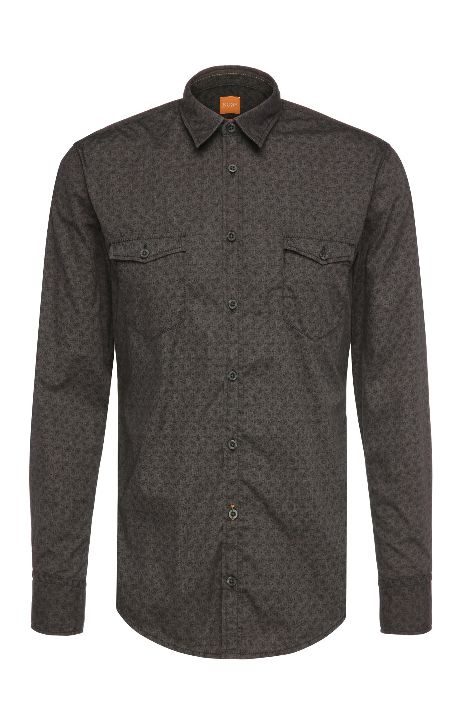 Slim-fit shirt in a cotton blend with a Paisley pattern: 'EdoslimE'