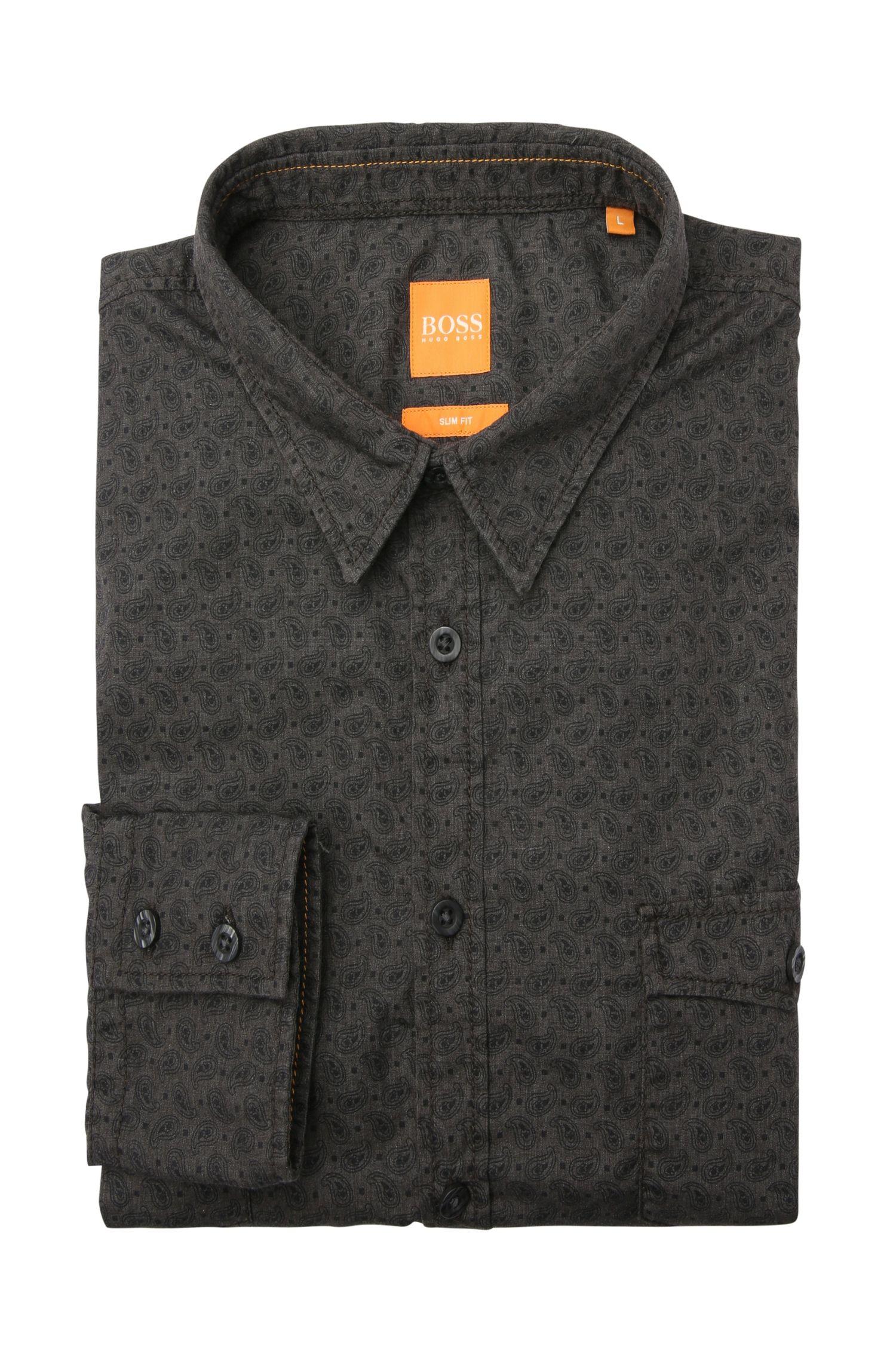 Slim-fit overhemd van een katoenmix met paisley-dessin: 'EdoslimE'