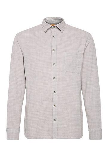 Relaxed-Fit Hemd aus strukturierter Baumwolle: ´ElooseE`, Hellgrau