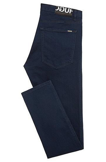 Slim-Fit Jeans aus Baumwoll-Mix in Rinsed-Optik: 'HUGO 734', Dunkelblau