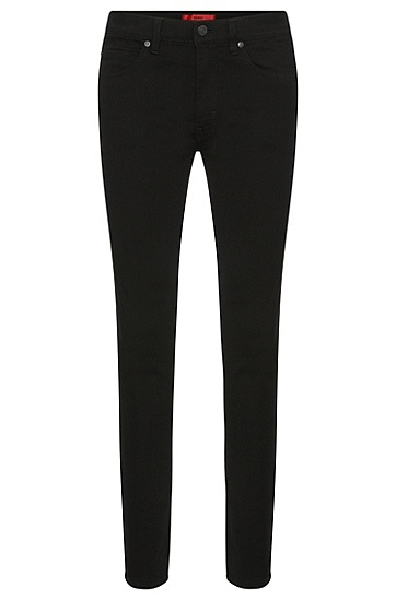 Unifarbene Skinny-Fit Jeans aus Baumwoll-Mix: 'HUGO 131', Schwarz