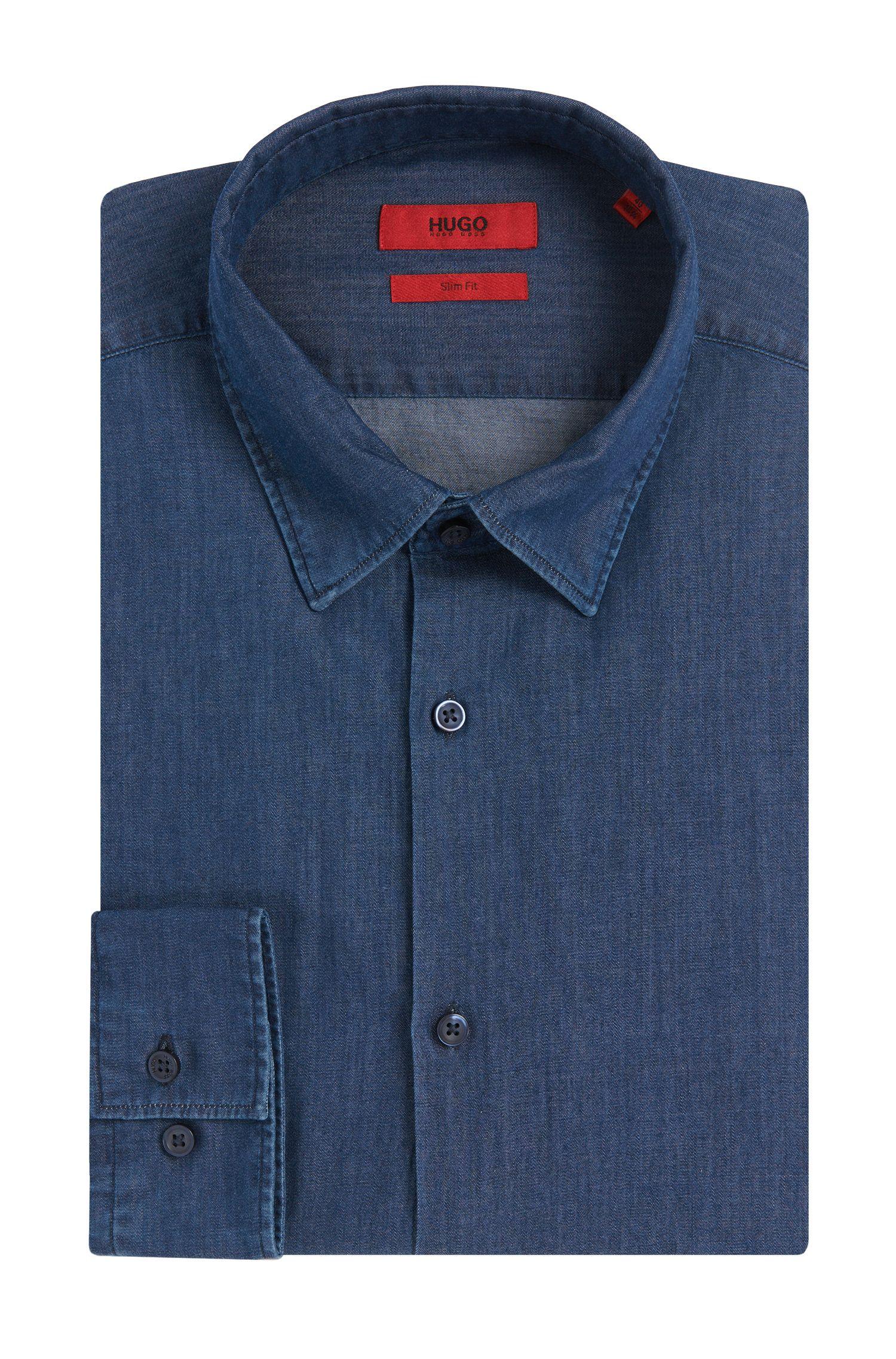 Chemise en jean Slim Fit en coton à la teinture indigo: «C-Jan»