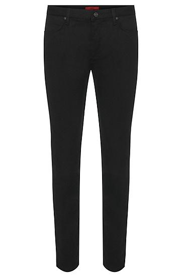 Unifarbene Skinny-Fit Jeans aus elastischem Baumwoll-Mix: HUGO 734', Schwarz