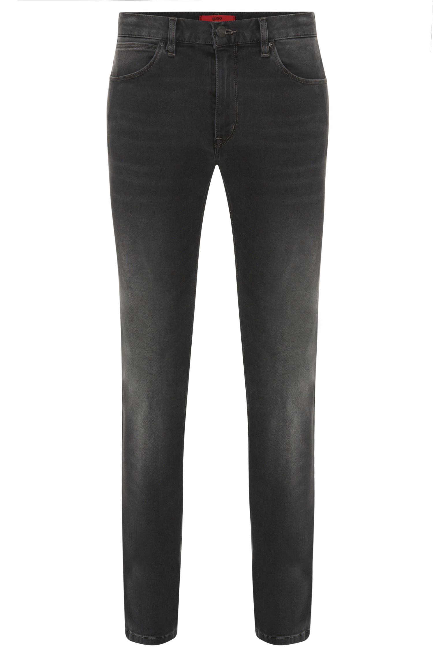 Skinny-fit jeans in cotton blend with used wash: 'HUGO 734'