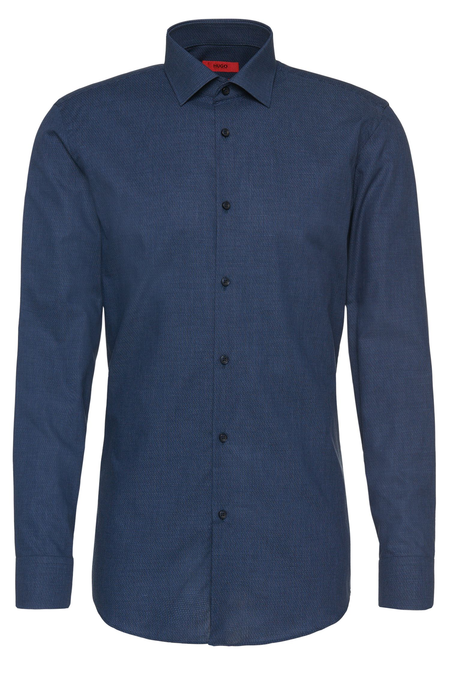 Slim-fit shirt in cotton with a fine linear pattern: 'C-Jenno'