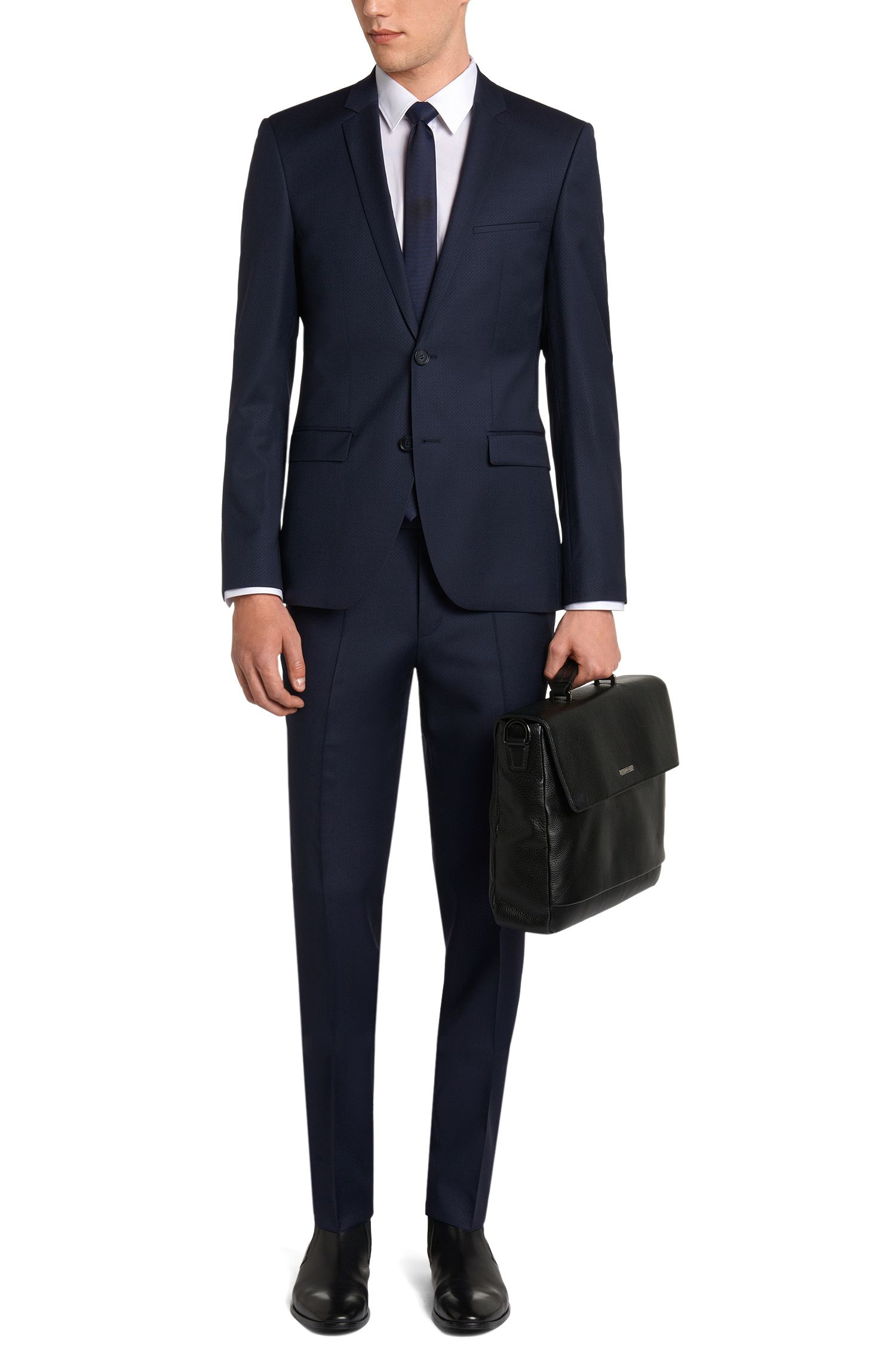 Fein gemusterter Extra Slim-Fit Anzug aus Schurwolle: 'Adris4/Heibo3'