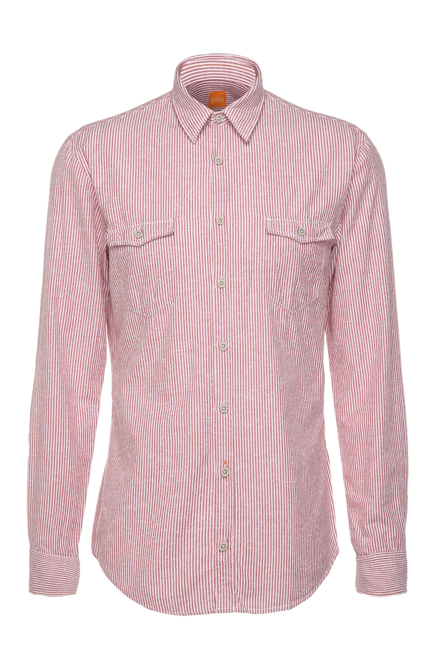 Striped slim-fit shirt in pure cotton: 'EdoslimE'