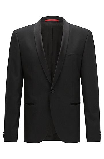 Slim-Fit Smoking-Jacke aus elastischer Schurwolle: 'AlstonS', Schwarz