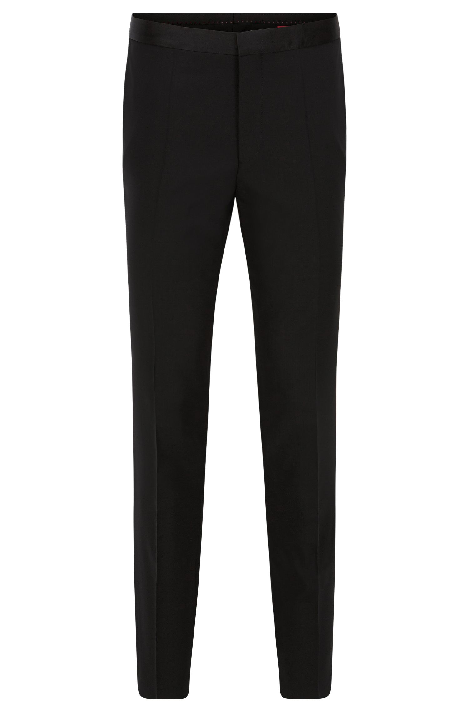 Plain-coloured extra slim-fit trousers in stretch new wool: 'HetonS'