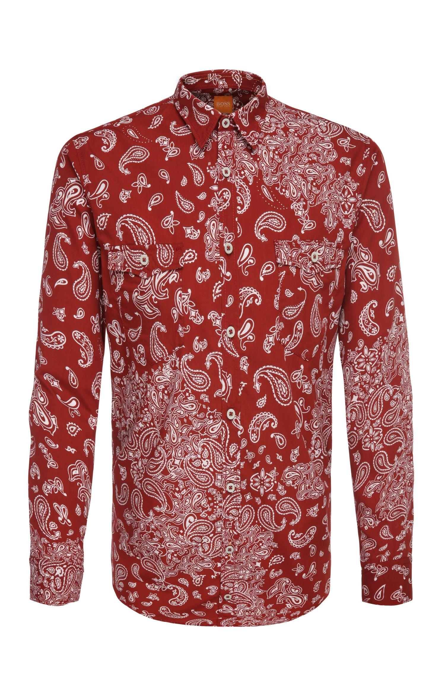 Camicia slim fit in cotone con motivo Paisley: 'EdoslimE'