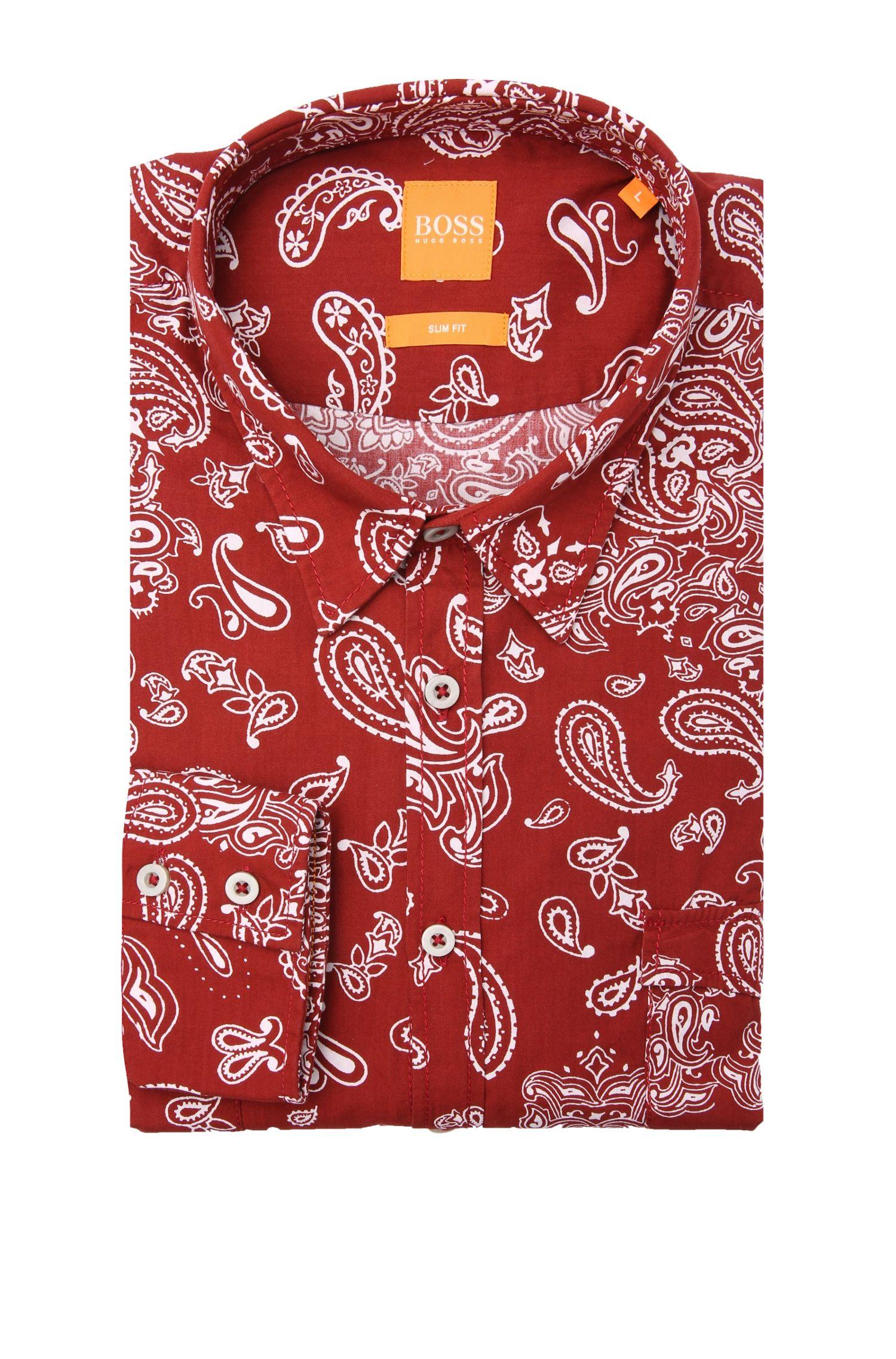 Slim-Fit Baumwollhemd mit Paisley-Muster: ´EdoslimE`