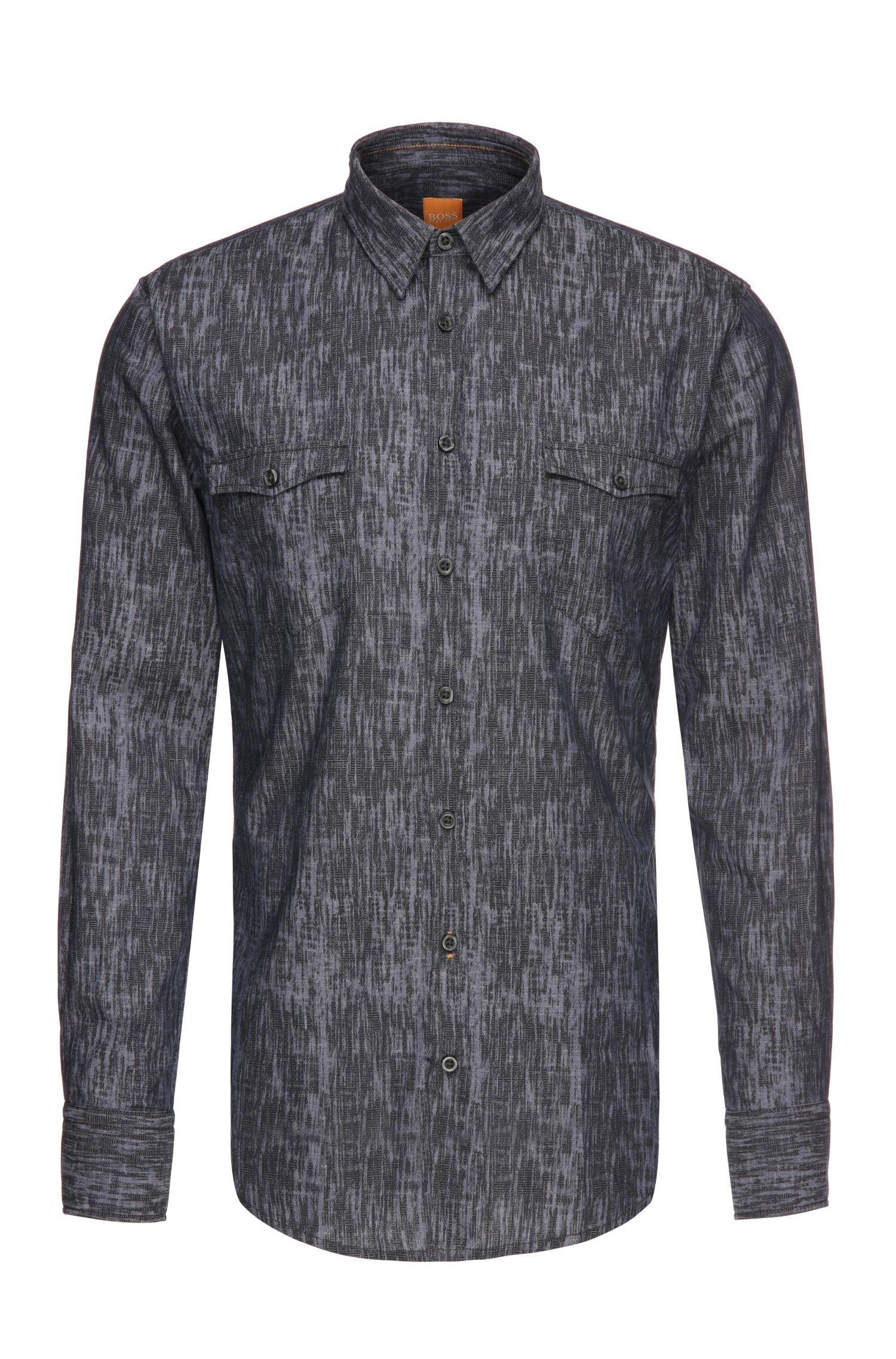 Patterned slim-fit shirt in textured cotton: 'EdoslimE'
