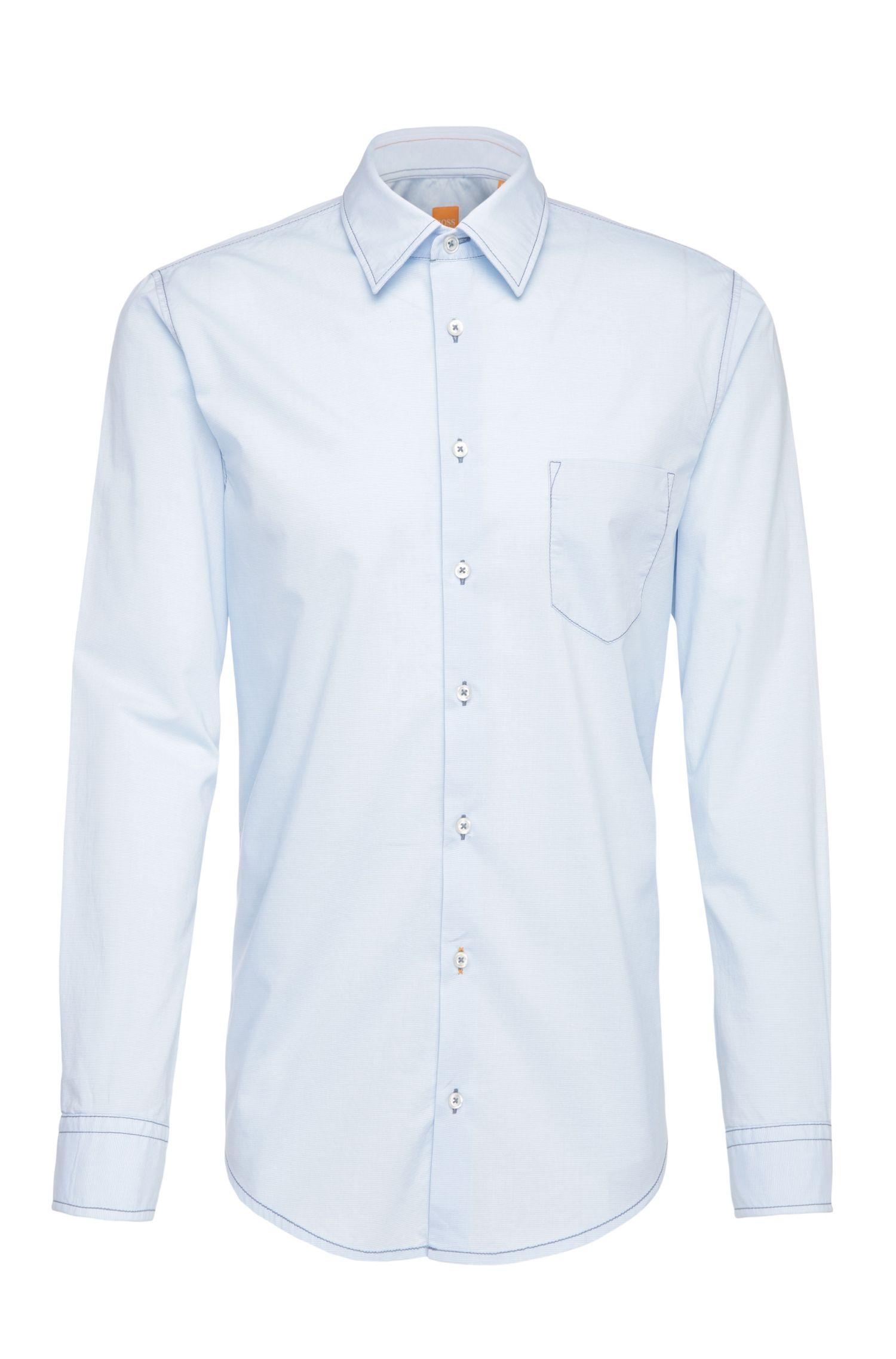 Camicia slim fit a righe sottili in cotone: 'EnameE'