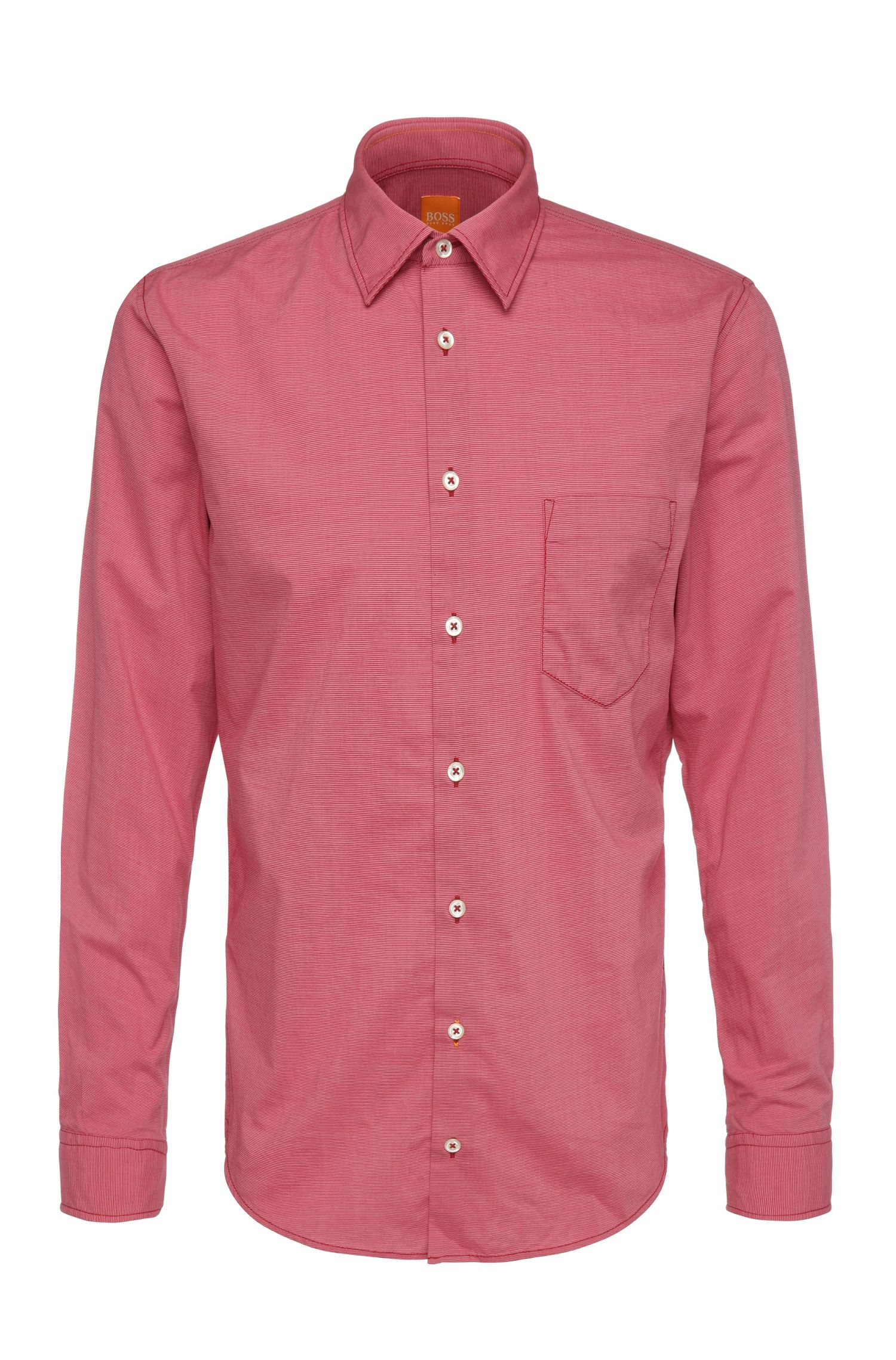 Finely striped slim-fit shirt in cotton: 'EnameE'