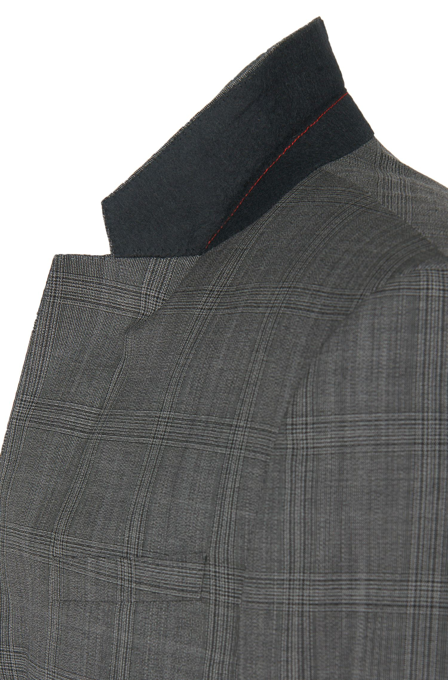 Slim-Fit Anzug aus Schurwolle mit Tartan-Muster: 'C-Huge1/C-Genius/WE'