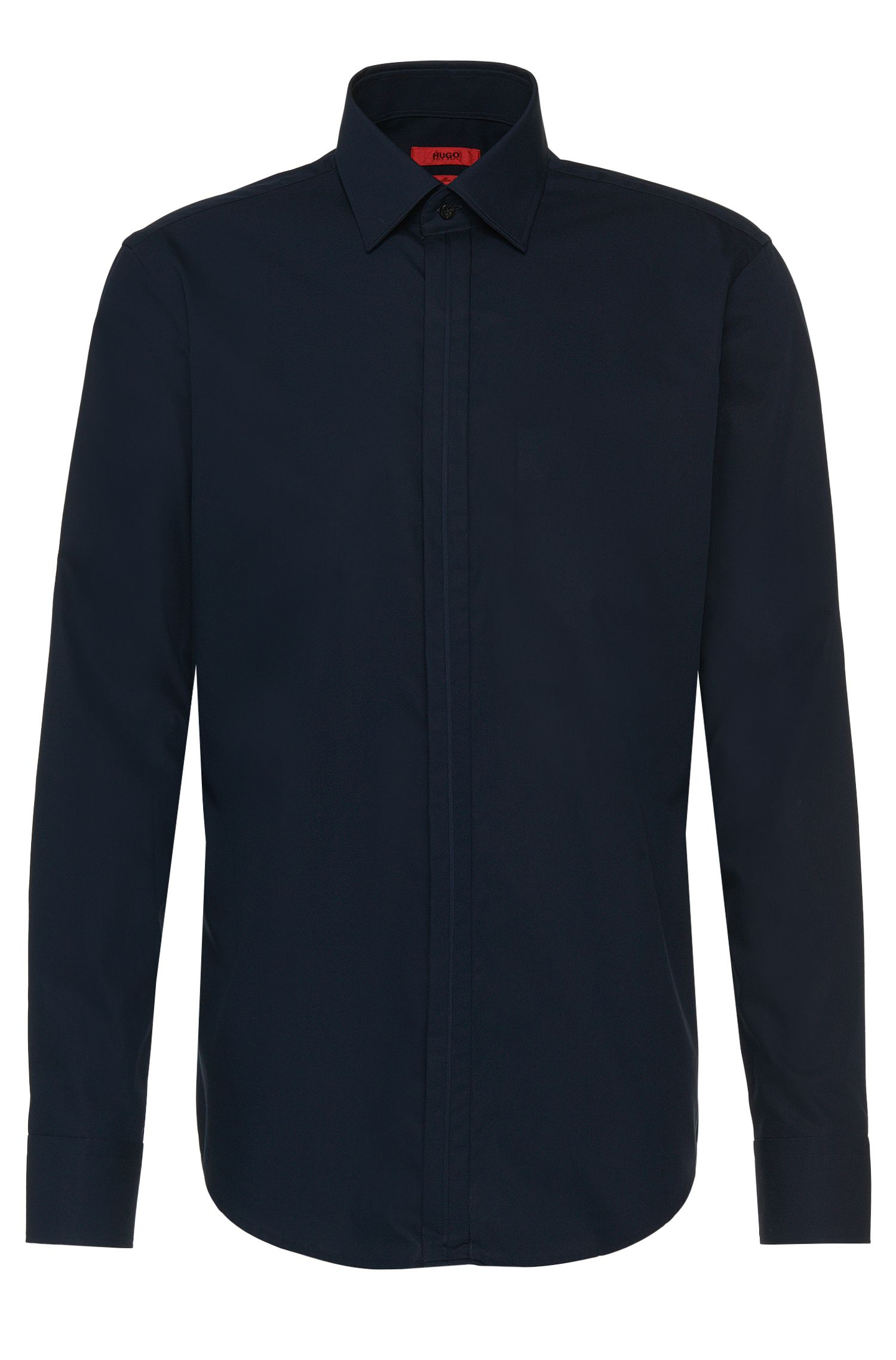 Regular-fit shirt in cotton with concealed button placket: 'C-Ernie'