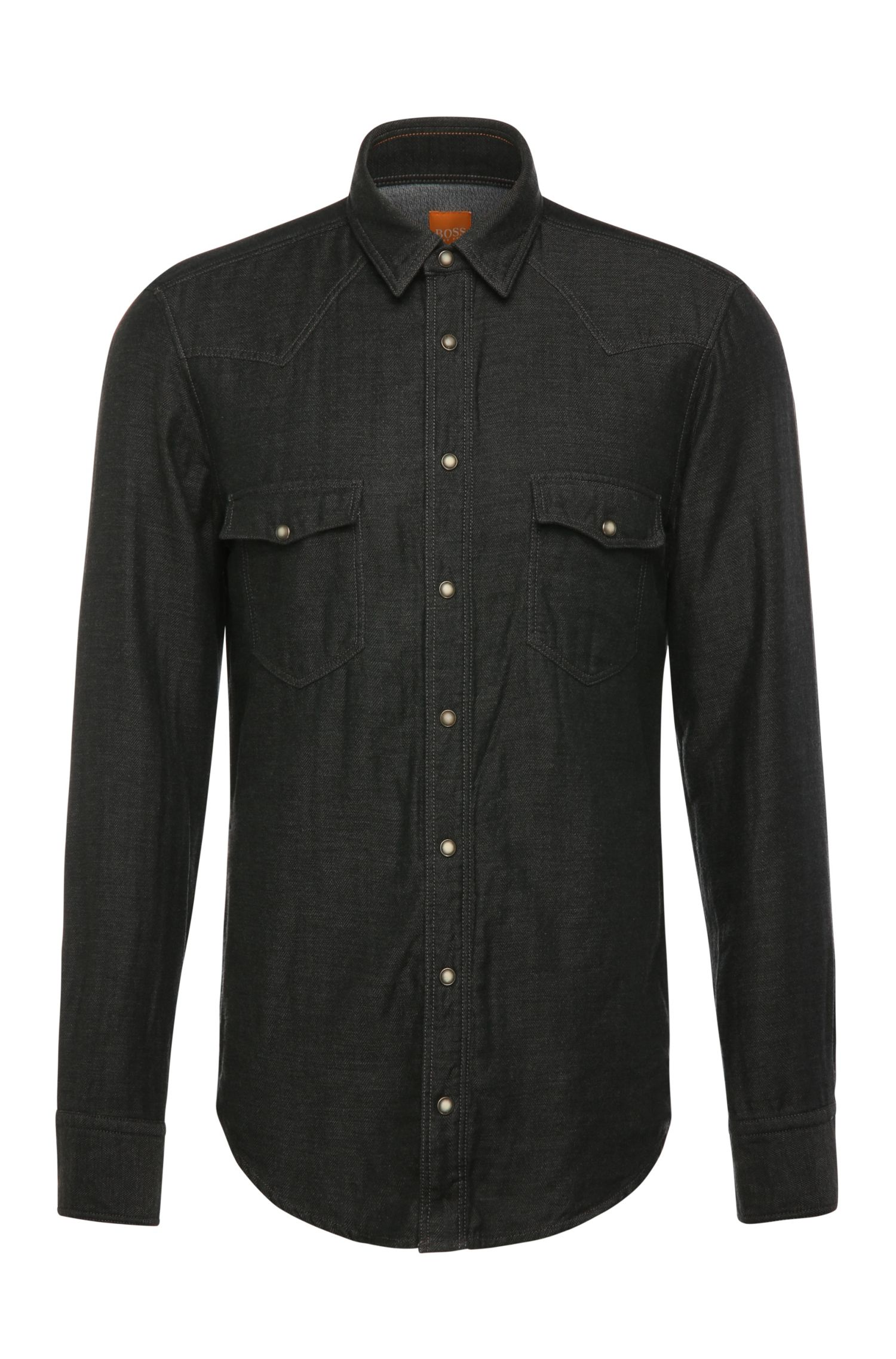 Regular-fit shirt in herringbone-look cotton: 'EdawarmE'