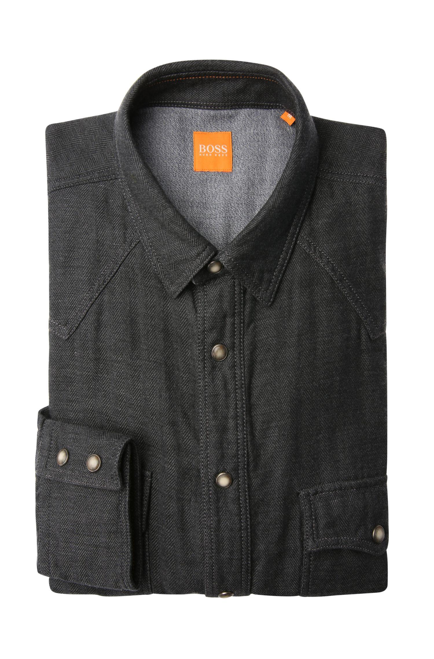 Regular-Fit Hemd aus Baumwolle im Fischgräten-Look: ´EdawarmE`