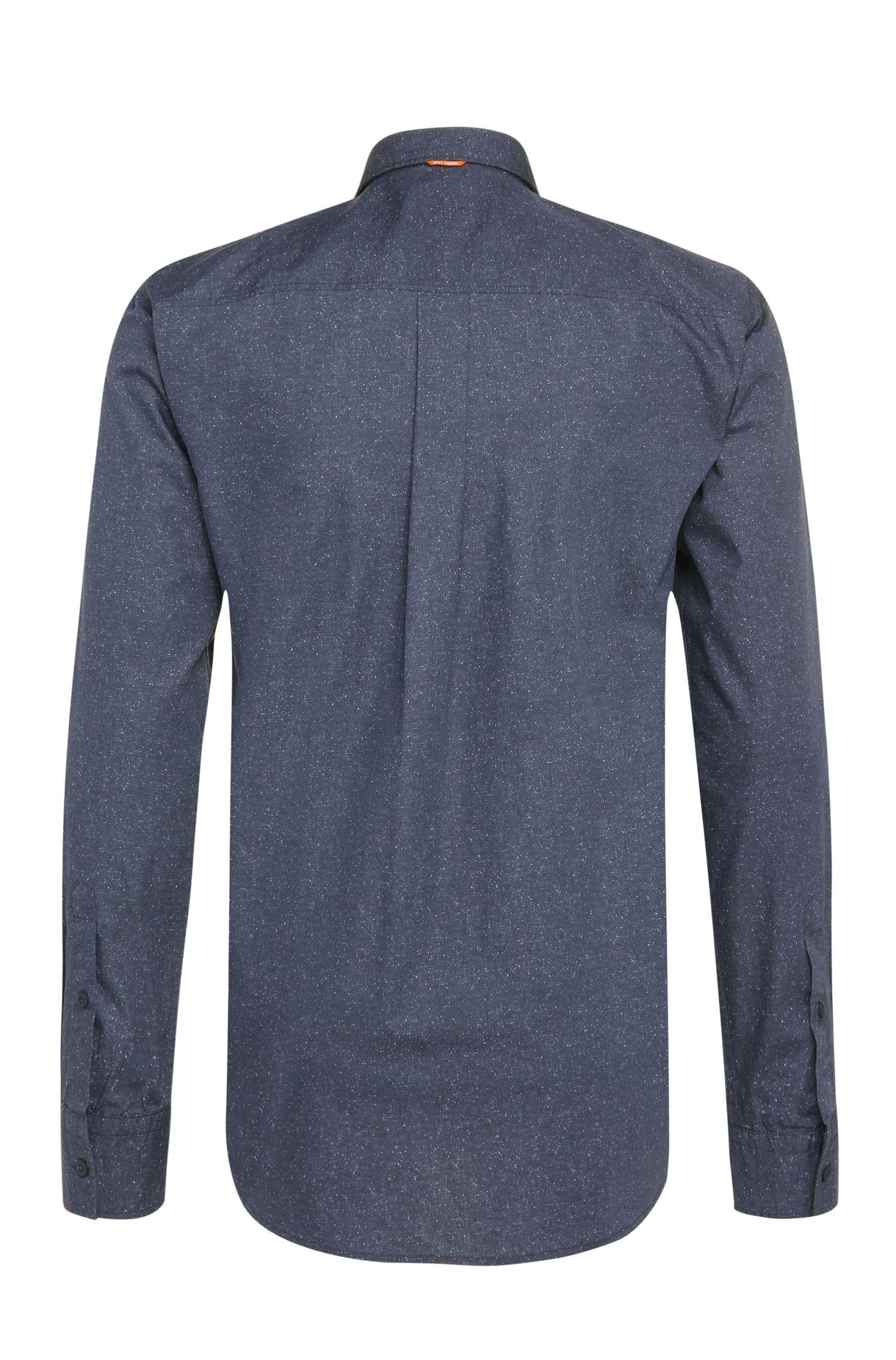 Strukturiertes Regular-Fit Hemd aus Baumwollpopeline: ´ElongE`