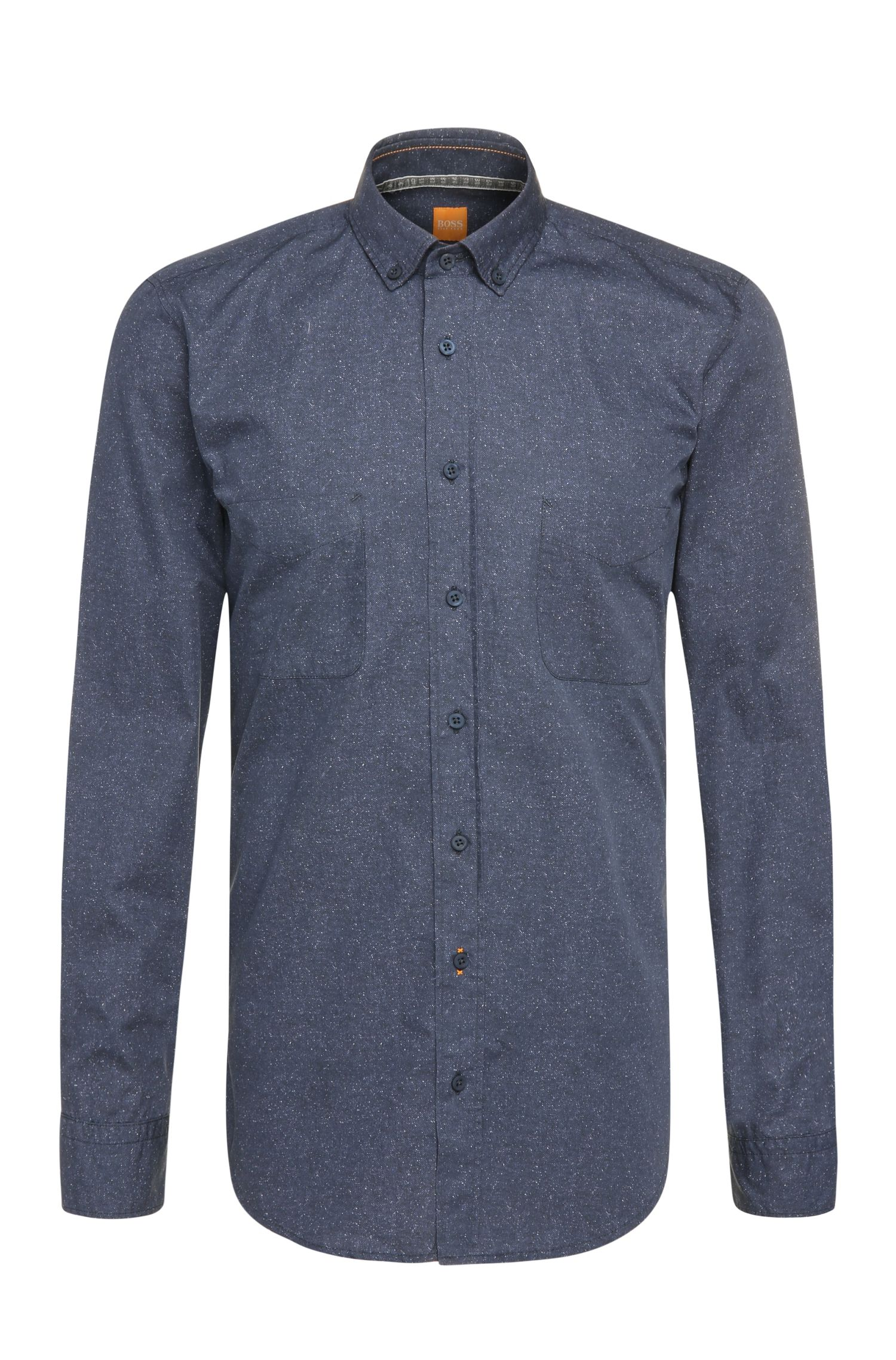 Textured regular-fit shirt in cotton poplin: 'ElongE'