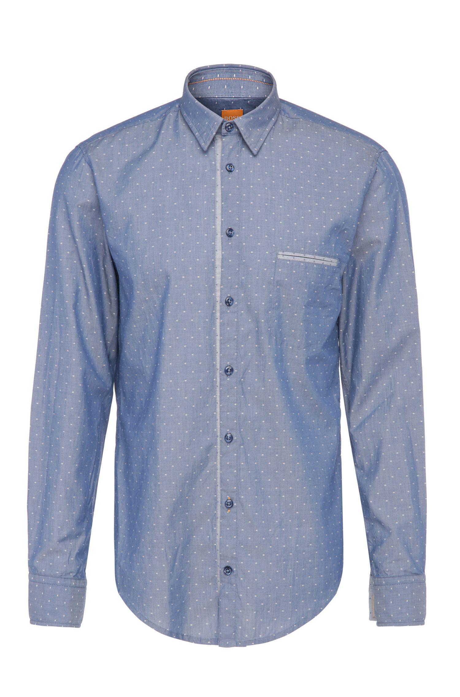 Regular-Fit Baumwollhemd in gepunkteter Jeans-Optik: ´CieloebuE_1`