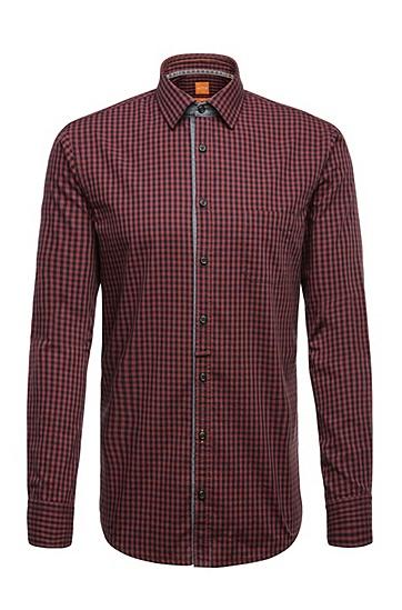 Slim-Fit Karo-Hemd aus Baumwolle: ´EslimE_1`, Rot