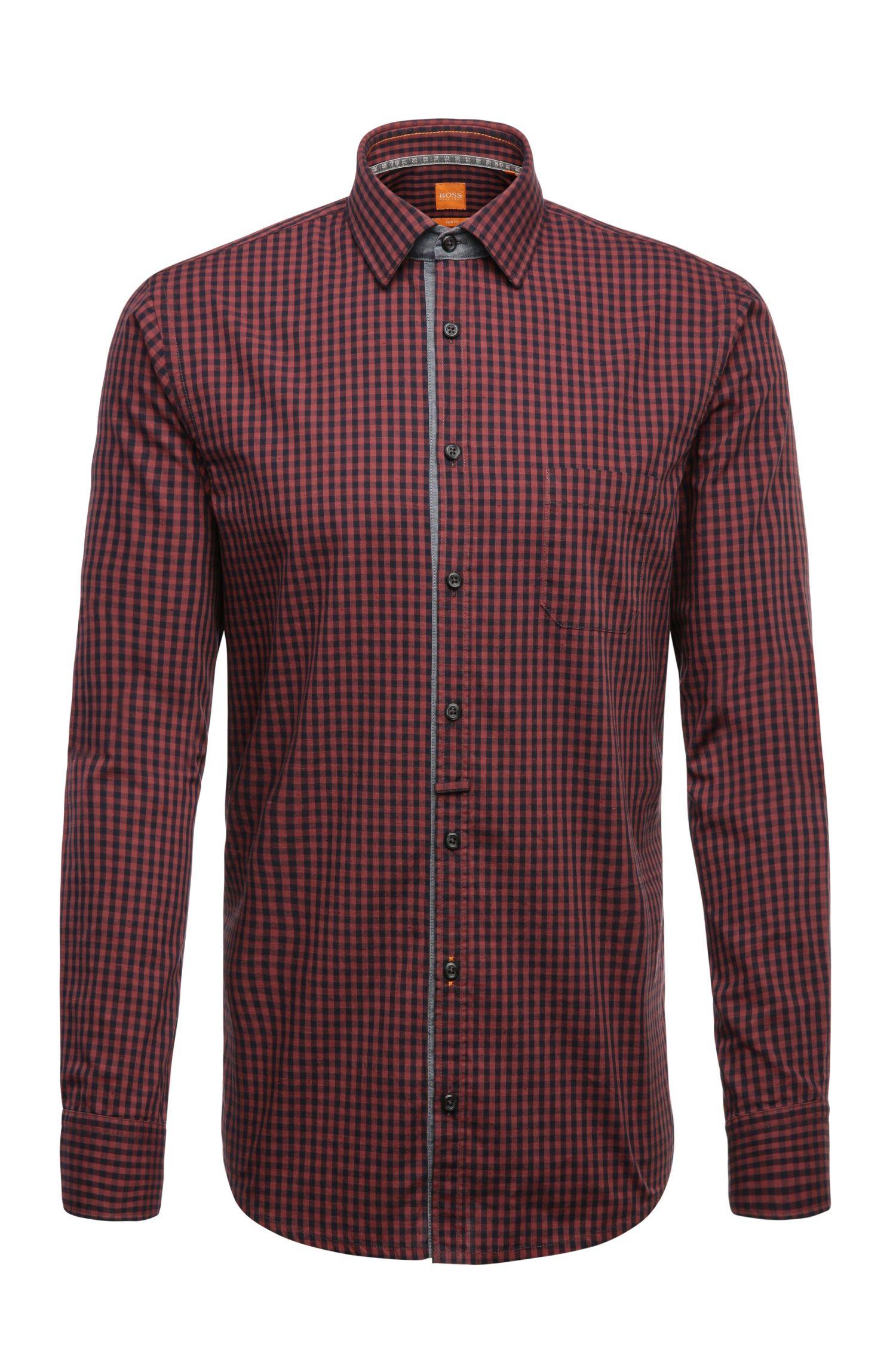 Slim-fit overhemd van katoen met ruitdessin: 'EslimE_1'