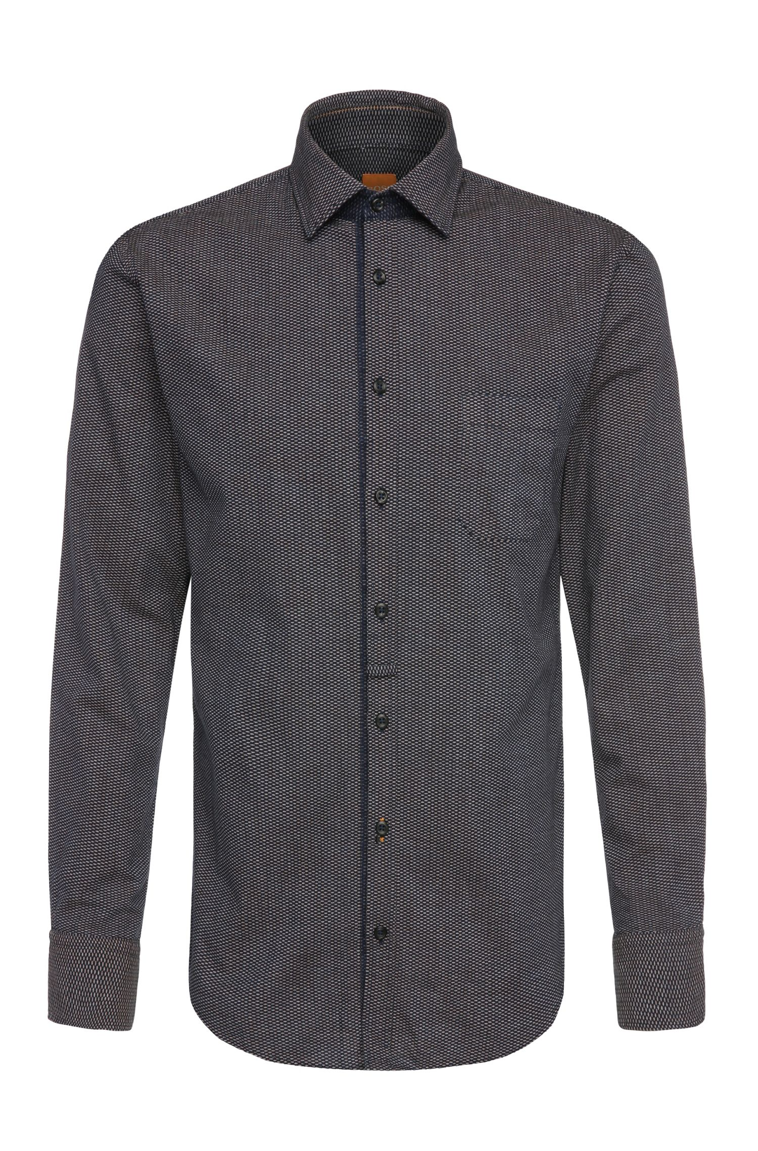 Patterned slim-fit shirt in cotton: 'EslimE_1'