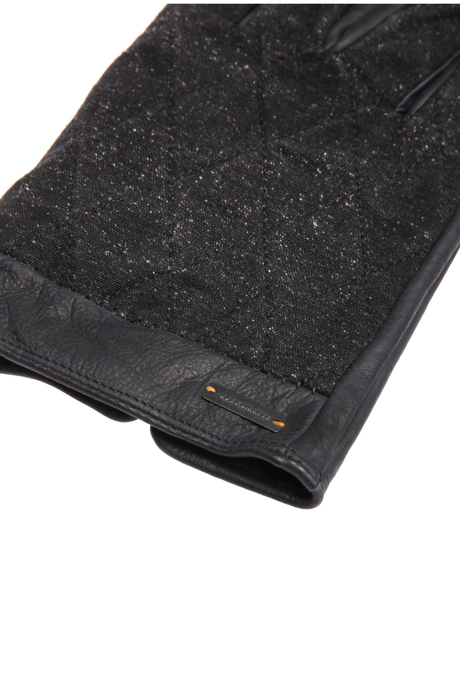 Handschuhe aus Leder mit Stoff-Besatz: ´Galop`