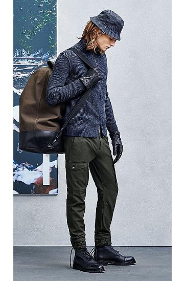 Handschuhe aus Leder mit Stoff-Besatz: ´Galop`, Schwarz
