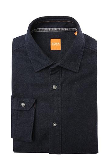 Unifarbenes Regular-Fit Hemd in Flanell-Qualität: ´EjacketE`, Dunkelblau