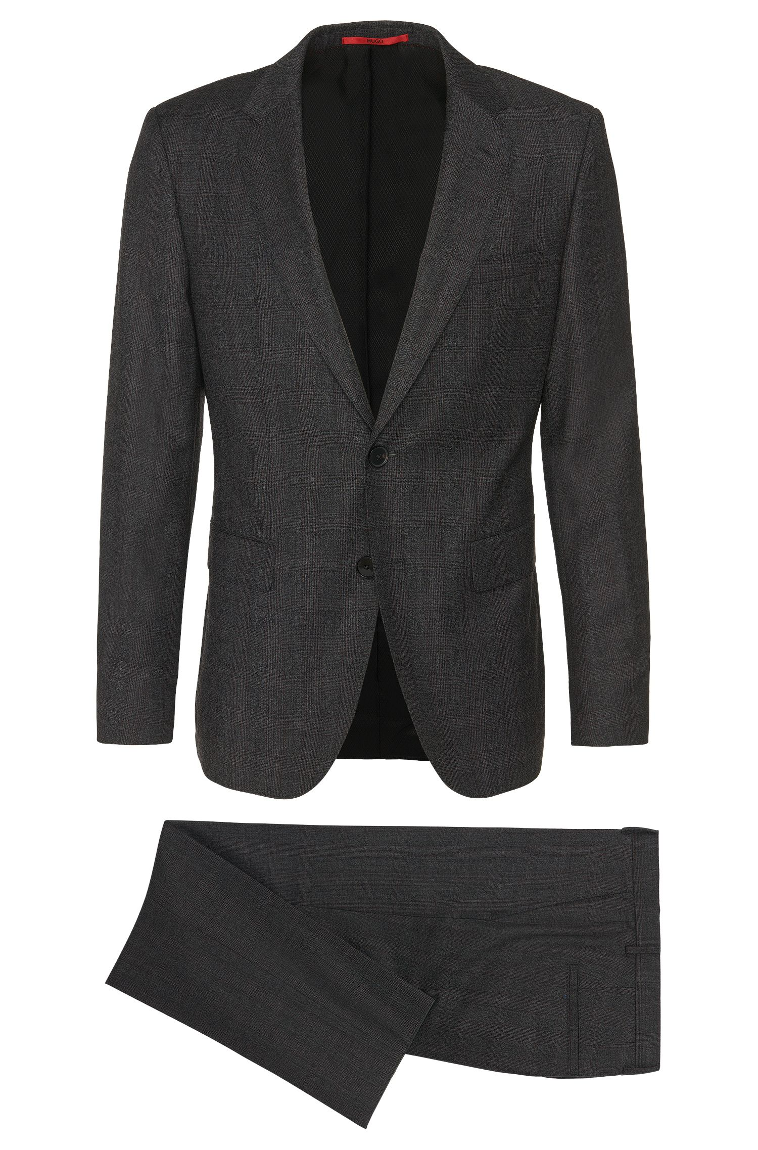 Regular-fit suit in new wool with a subtle check pattern: 'C-Jeffery/C-Simmons'