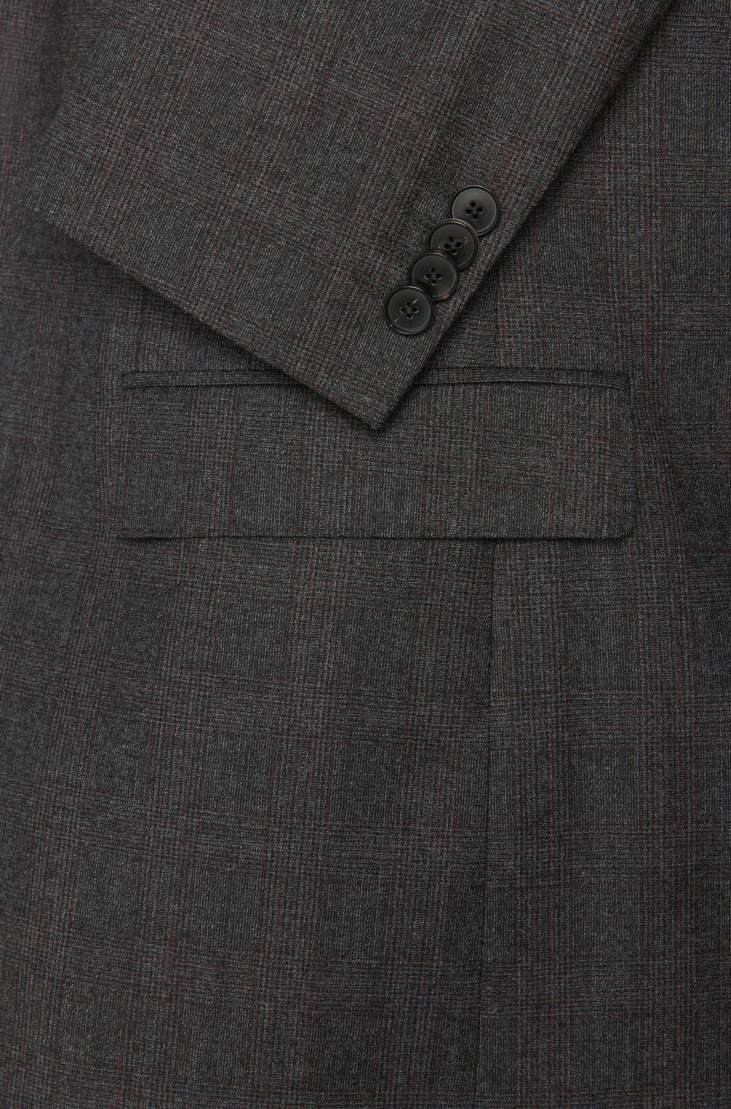 Costume Regular Fit en laine vierge, orné d'un motif à carreaux discret: «C-Jeffery/C-Simmons»