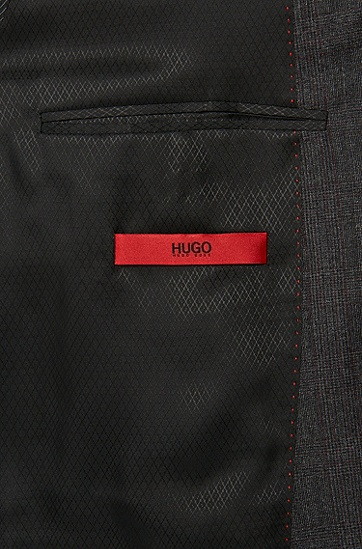 Regular-Fit Anzug aus Schurwolle mit dezentem Karo-Muster: 'C-Jeffery/C-Simmons', Anthrazit
