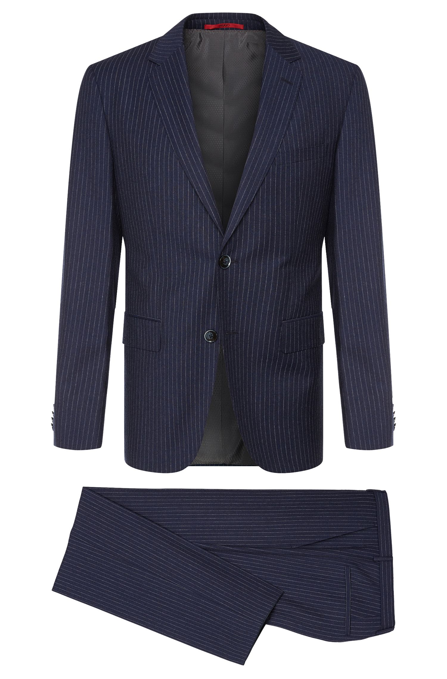 Finely striped regular-fit suit in new wool: 'C-Jeys1/C-Shaft1'