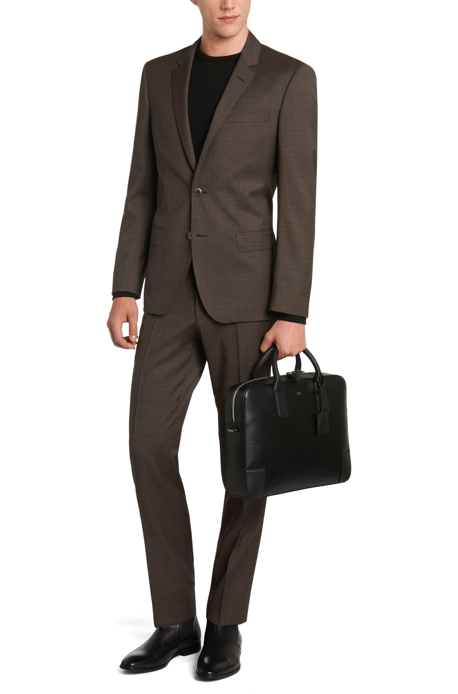 Fijngeruit slim-fit kostuum van zuivere scheerwol: 'C-Hutson1/C-Gander'