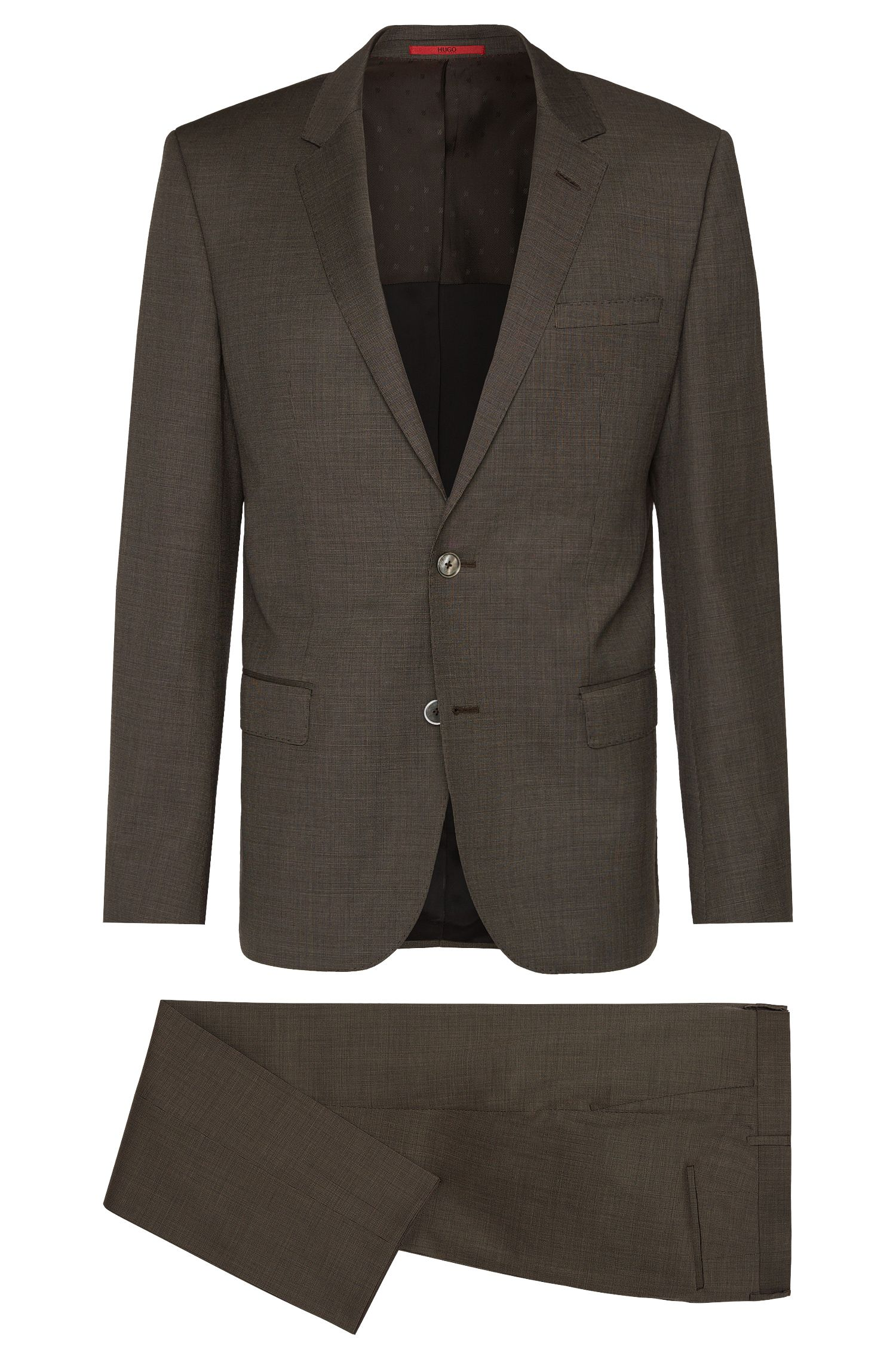 Traje slim fit con fino estampado a cuadros confeccionado en pura lana virgen: 'C-Hutson1/C-Gander'