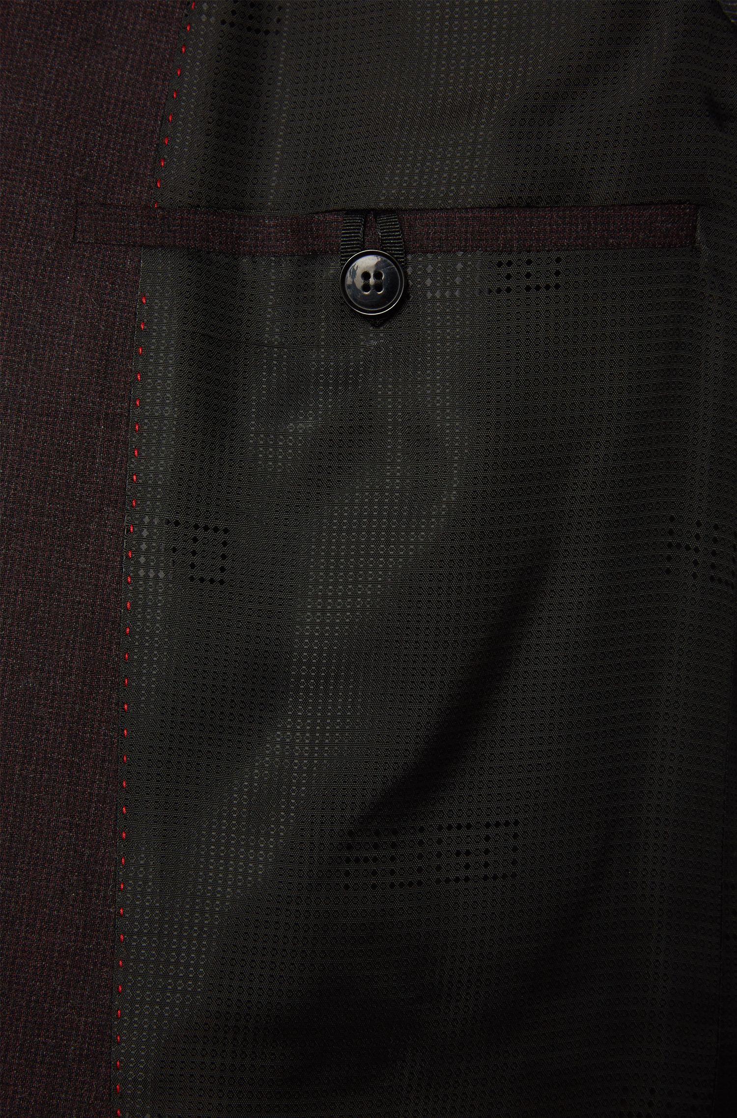 Extra slim-fit kostuum van fijngeruite scheerwol: 'C-Ryan/C-Win'