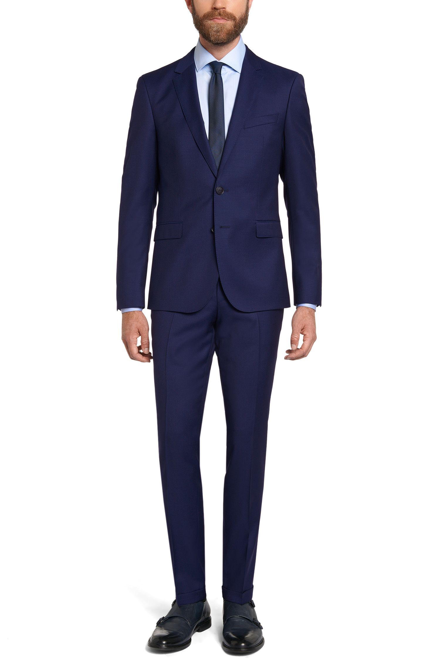 Costume Extra Slim Fit en laine vierge : « C-Ryan/C-Win »