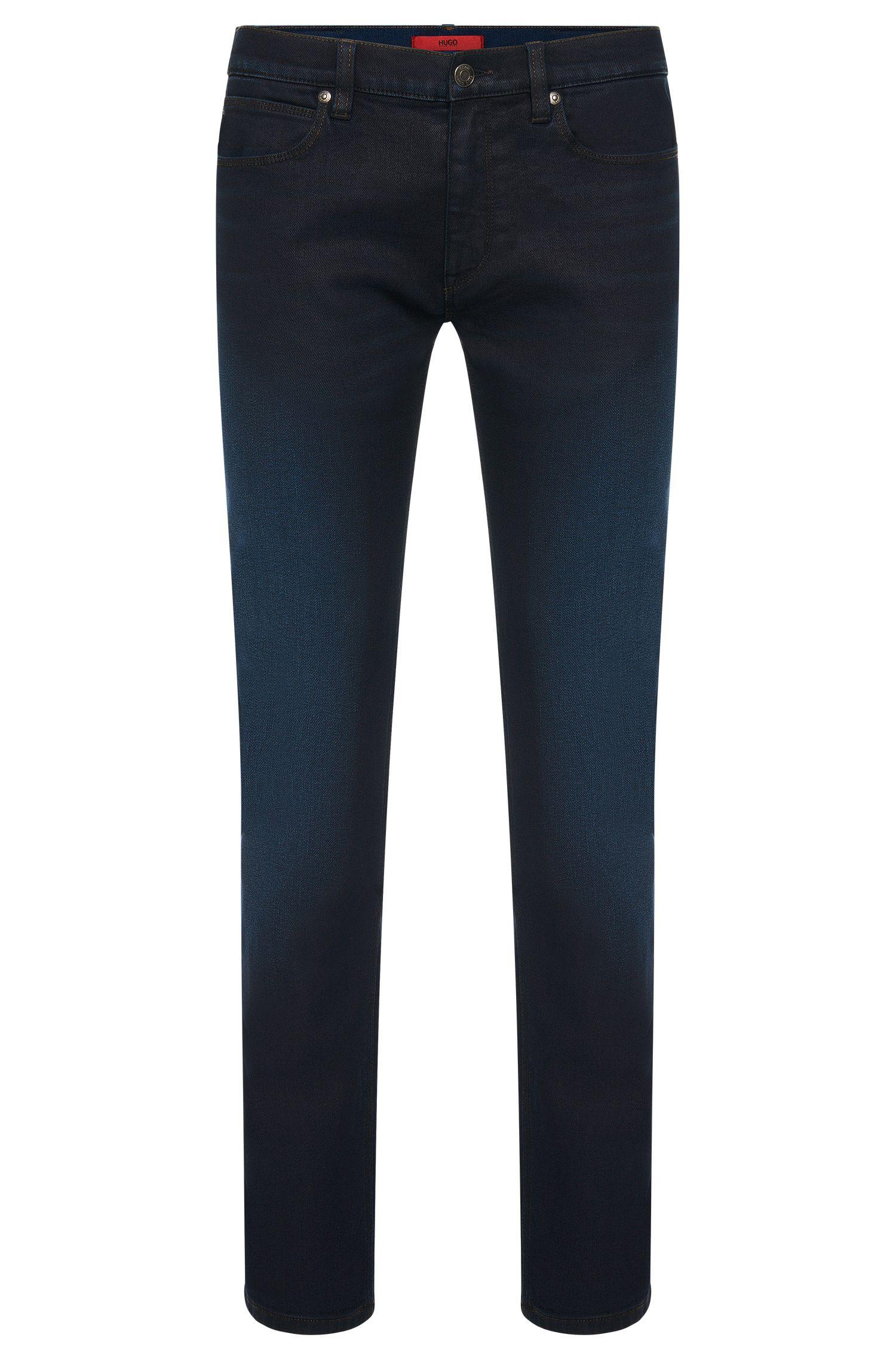 Jeans Slim Fit en coton mélangé extensible aux discrets effets délavés: «HUGO708»