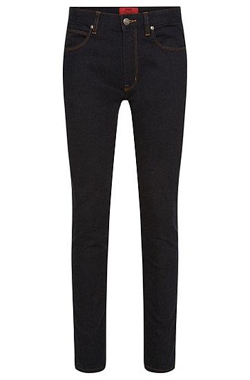 Skinny-Fit Jeans aus elastischem Baumwoll-Mix mit Modal: 'HUGO 734', Schwarz