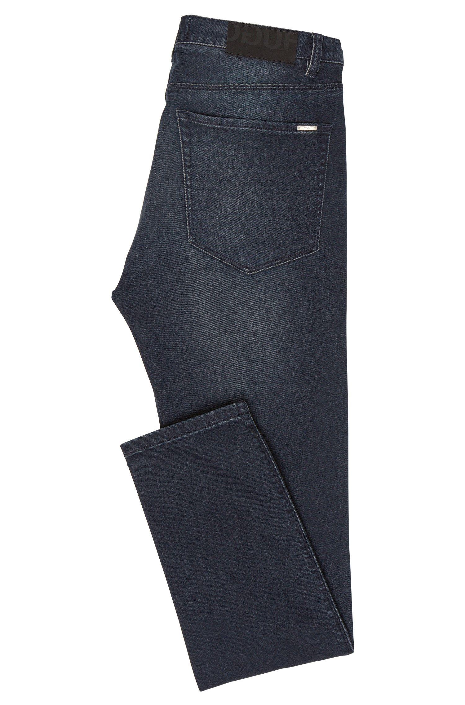 Skinny-fit jeans van een elastische katoenmix met used wassing: 'HUGO 734'