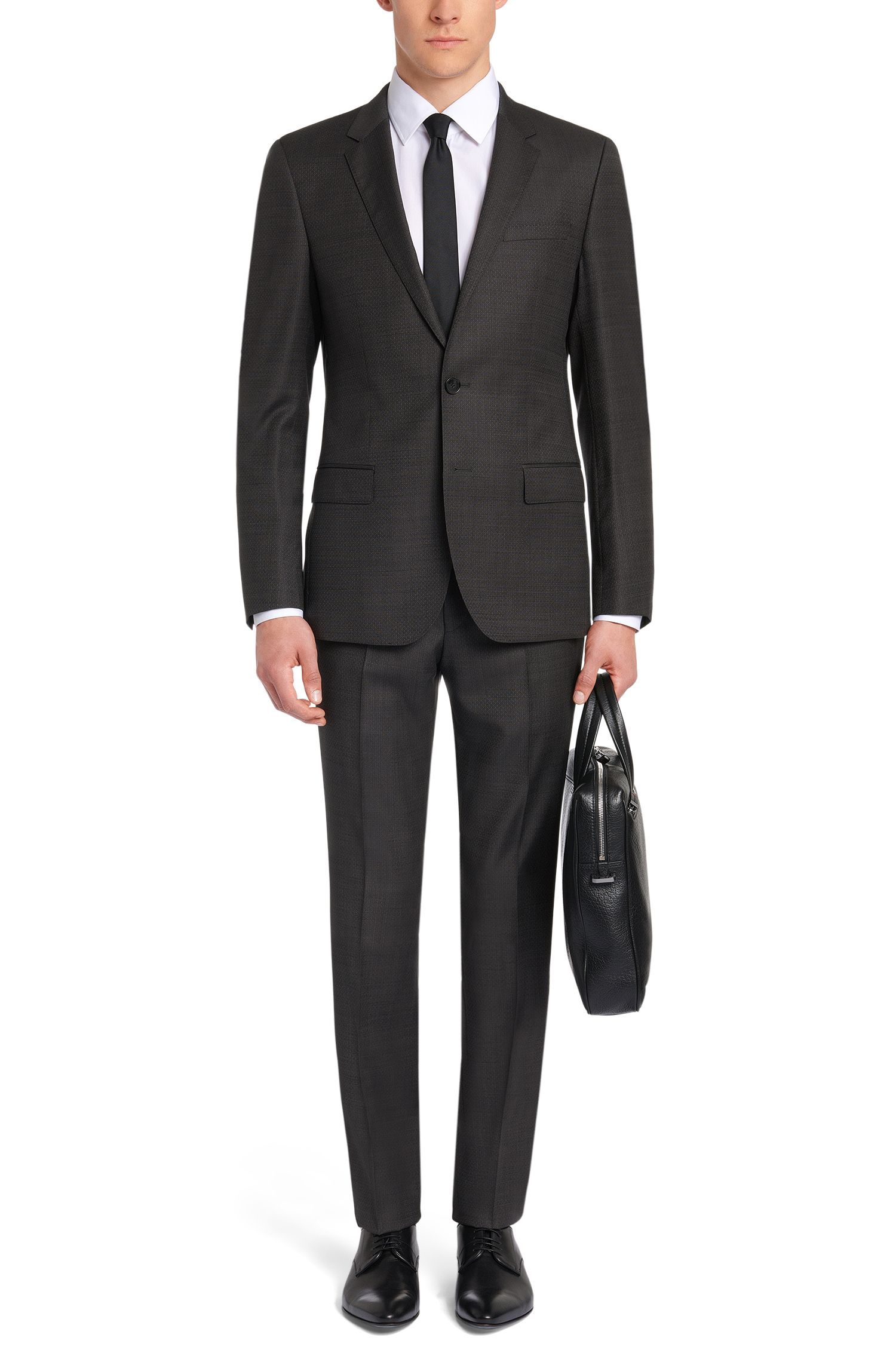 Dezent gemusterter Slim-Fit Anzug aus Schurwolle: 'C-Huge1/C-Genuis'