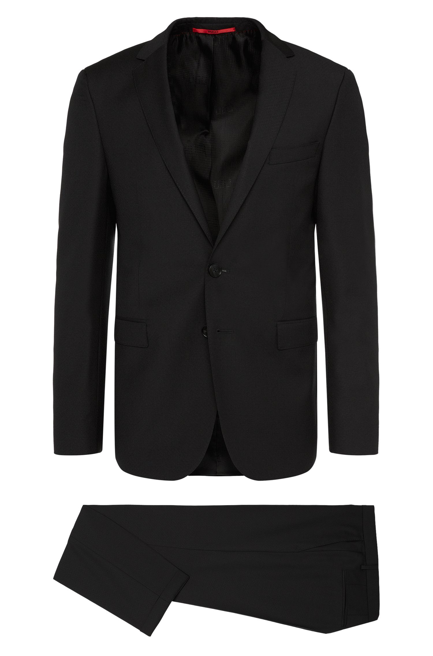 Extra-slim-fit suit in new wool with a subtly textured pattern: 'C-Ryan/C-Win'