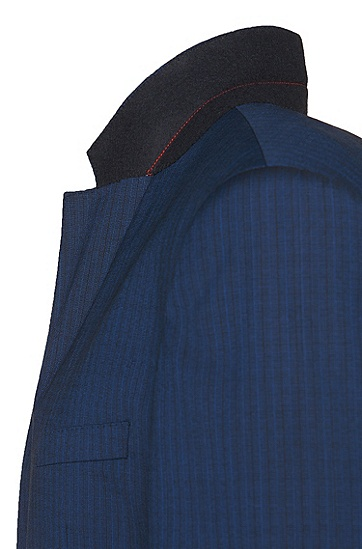 Gemusterter Slim-Fit Anzug aus Schurwolle: 'C-Huge1/C-Genuis', Blau