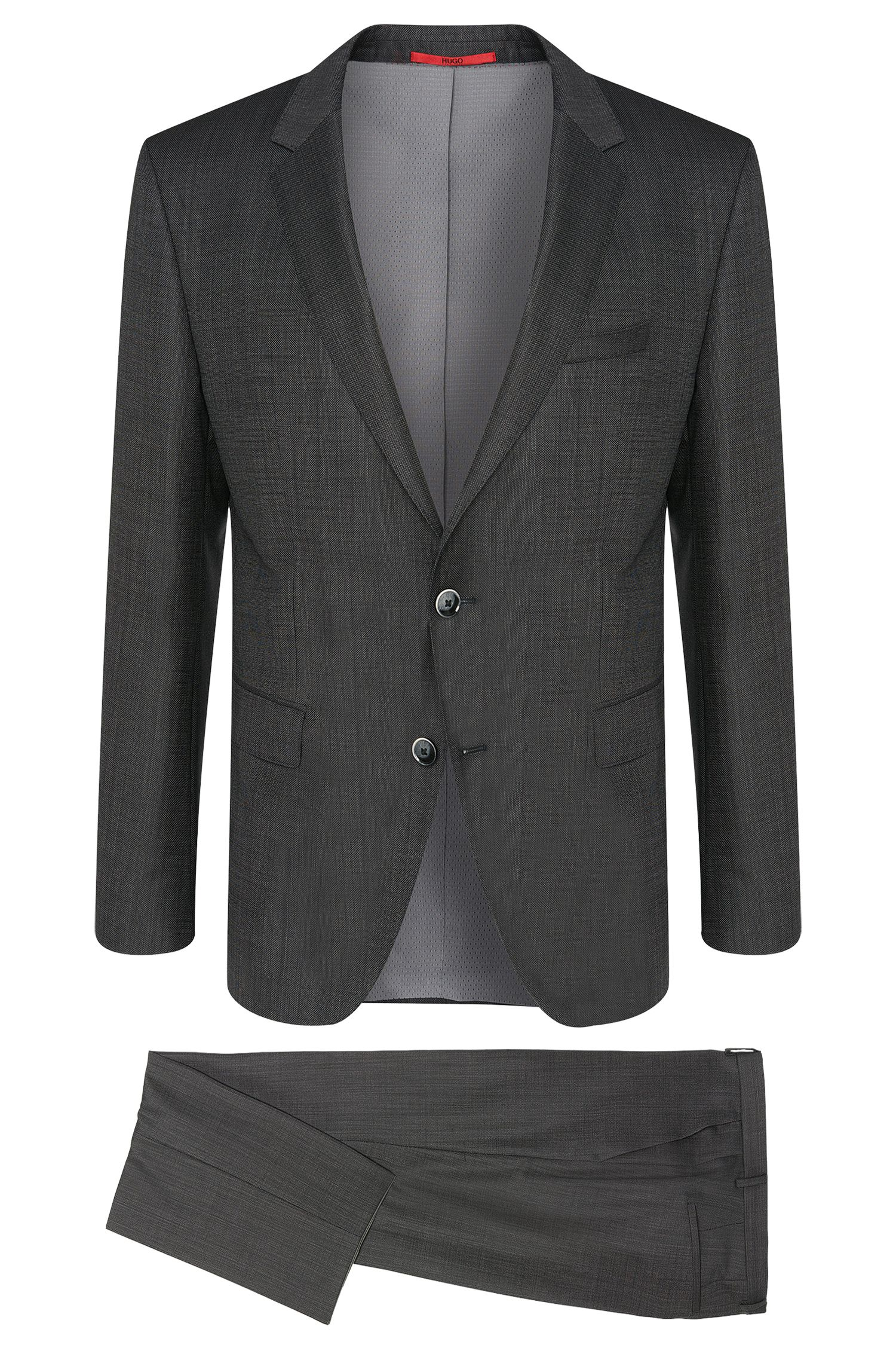 Regular-fit suit in new wool in a finely textured pattern: 'C-Jeys1/C-Shaft1'